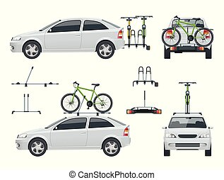 Car is transporting bicycles on the roof and Bikes Loaded on the Back of a Van. Side view and back view.