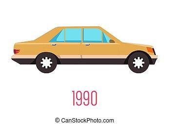 car, isolado, ícone, 90s, retro, veículo, vindima