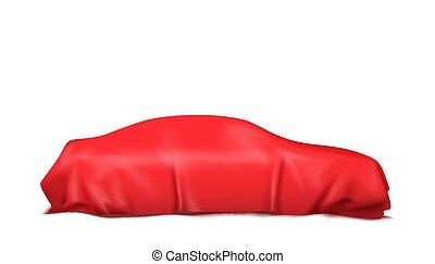 car, isolado, ilustração, experiência., vetorial, coberto, branca, seda, vermelho