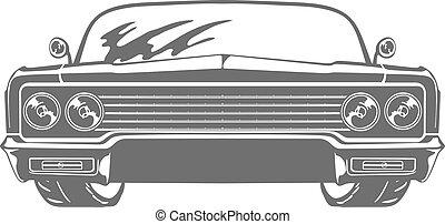car, isolado, ilustração, vetorial, retro, fundo, branca