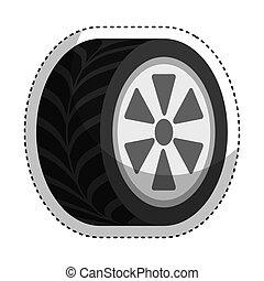 car, isolado, pneu, ícone