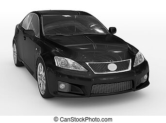 car isolated on white - black paint, tinted glass -...