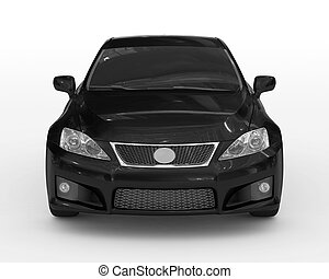 car isolated on white - black paint, tinted glass - front view
