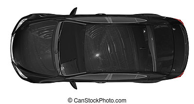 car isolated on white - black paint, tinted glass - top view