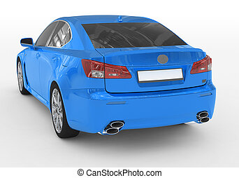 car isolated on white - blue paint, tinted glass - back-left side view