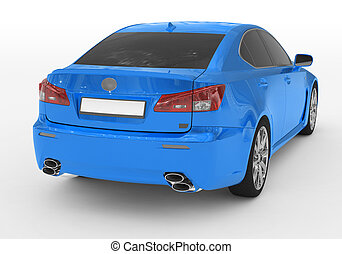 car isolated on white - blue paint, tinted glass - back-right side view