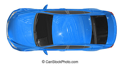 car isolated on white - blue paint, tinted glass - top view