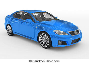car isolated on white - blue paint, transparent glass -...