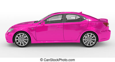 car isolated on white - purple paint, transparent glass - left side view