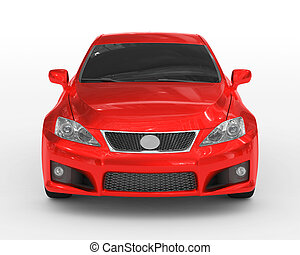 car isolated on white - red paint, tinted glass - front view