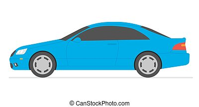 Car isolated vector illustration. Automobile in white background