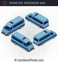 car, isometric, minibus