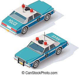 car, isometric, vetorial, polícia