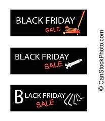 Car Jack and Repair Tools Kits on Black Friday Banners -...