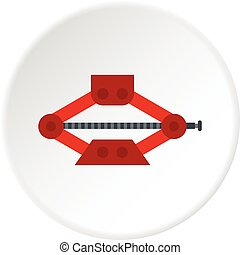 Car jack icon circle - Car jack icon in flat circle isolated...