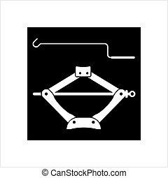Car Jack Icon, Mechanical Jack Icon Vector Art Illustration