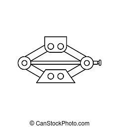 Car jack service equipment icon, outline style - Car jack...