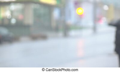 Car jam in heavy rain Optical Blur