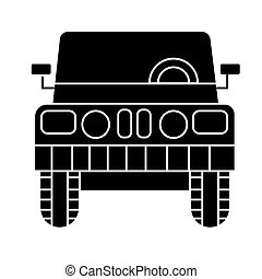 car jeep front view icon, vector illustration, black sign on isolated background