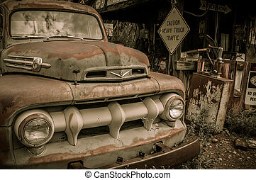 Jerome Arizona Ghost Town mine and old car truck