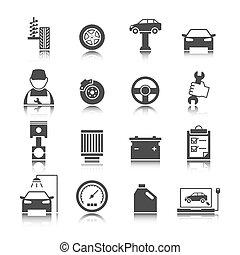 car, jogo, auto serviço, ícones