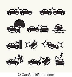 car, jogo, choque, relatado, ícone