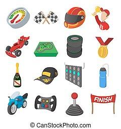 car, jogo, correndo, caricatura, ícones