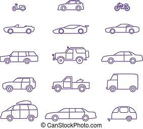car, jogo, esboço, tipos, ícones