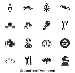 car, jogo, serviço, ícone