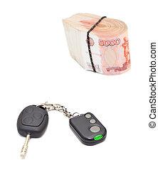 Car key and money cashnotes