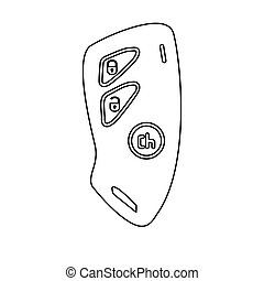 Car key and of the alarm system black color path icon .