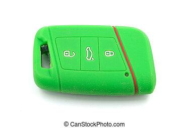 car key case on white background close up
