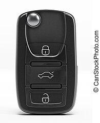 Car key - Black closed car key isolated on white background.