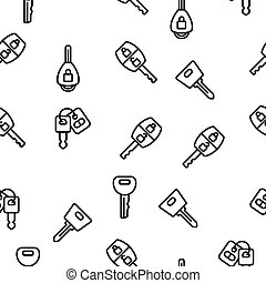 Car Key Equipment Vector Seamless Pattern