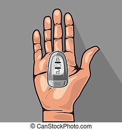 Car key in a hand