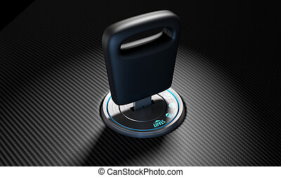 Car Key In Ignition - A modern chrome and blue light car ...