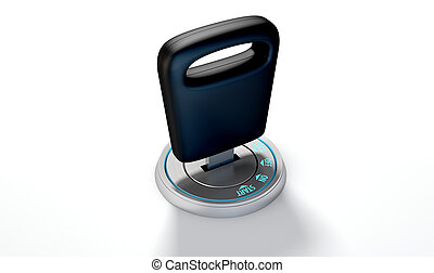 Car Key In Ignition - A modern chrome and blue light car...
