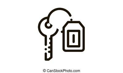 Car Key Label Icon Animation. black Car Key Label animated icon on white background