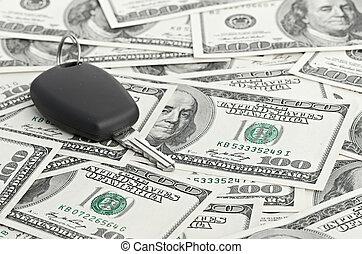 Car Key on 100 dollar background