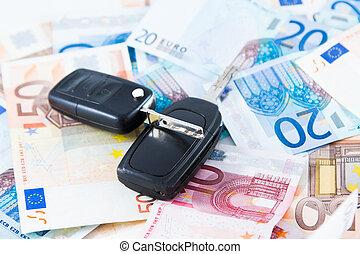 Car key on money background