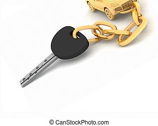 Car key on the white background