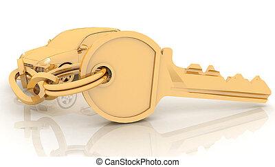 Car key on the white background