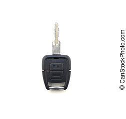 Car key on white background, close-up, isolate, auto