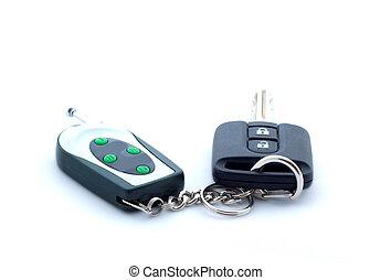 Car key on white background, isolated