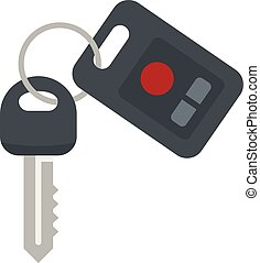 Car key security icon, flat style