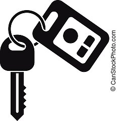 Car key security icon, simple style