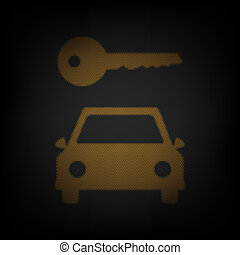 Car key simplistic sign. Icon as grid of small orange light bulb in darkness. Illustration.