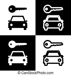 Car key simplistic sign. Vector. Black and white icons and line icon on chess board.