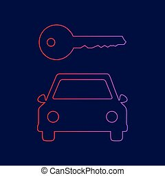 Car key simplistic sign. Vector. Line icon with gradient from red to violet colors on dark blue background.
