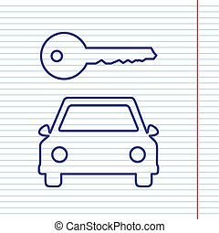 Car key simplistic sign. Vector. Navy line icon on notebook paper as background with red line for field.
